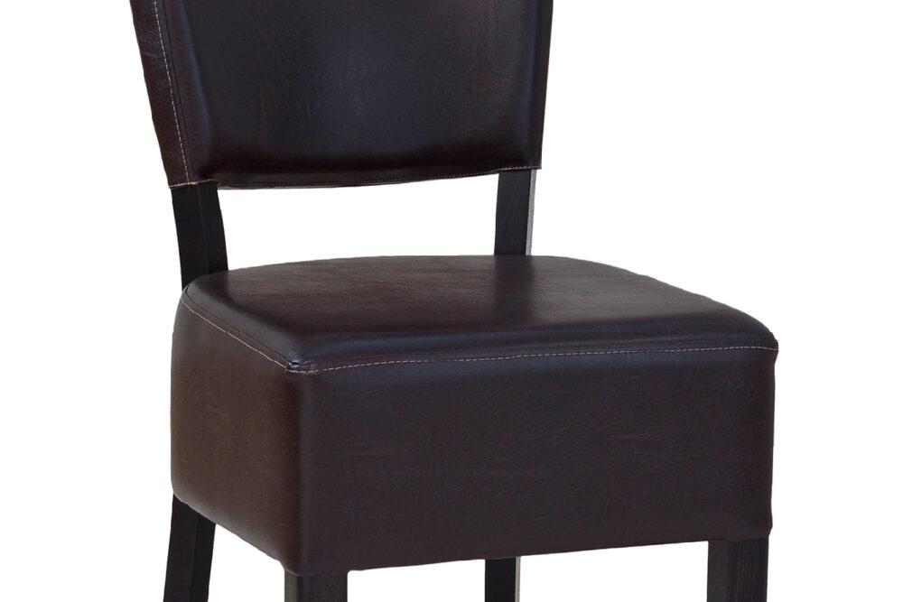 Gastronomie Stuhl aus Holz und Lederbezug